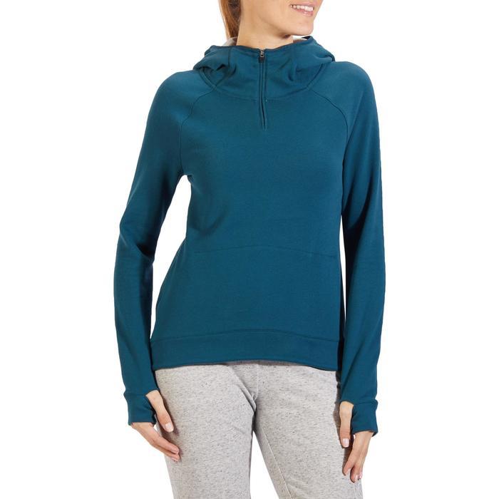 Sweat-shirt 900 Gym & Pilates Femme capuche bleu glacier - 1318299