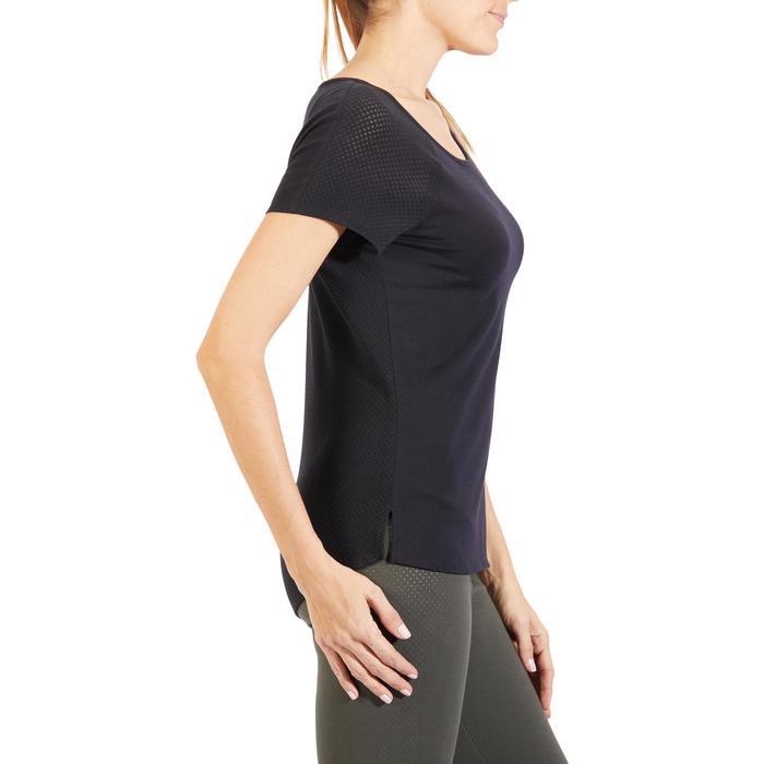 Camiseta 900 de manga corta de gimnasia y pilates mujer negro