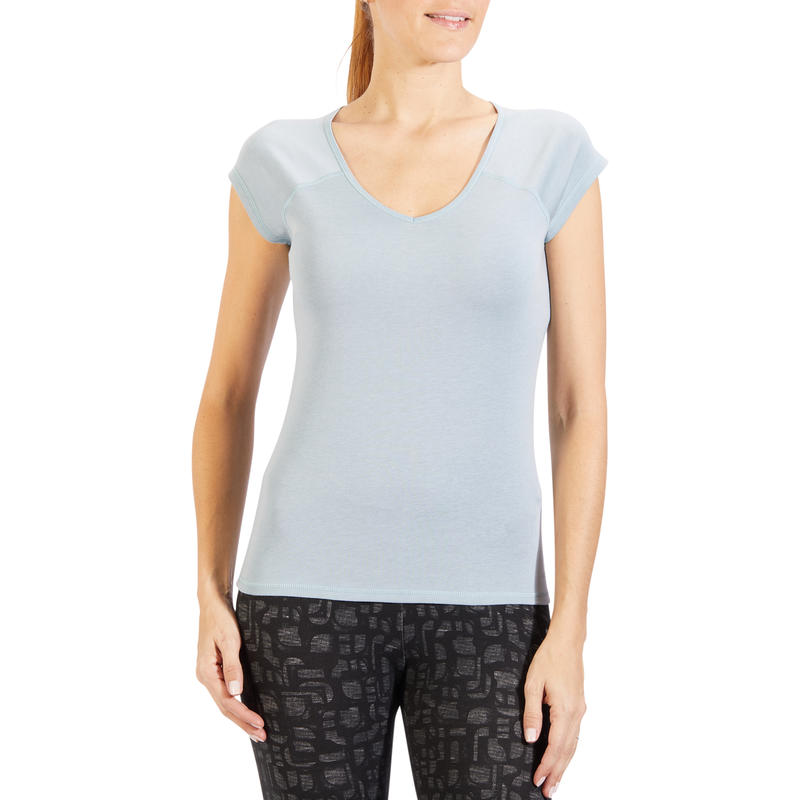 500 Women's Slim-Fit Short-Sleeved Gym & Pilates T-Shirt - Light Blue