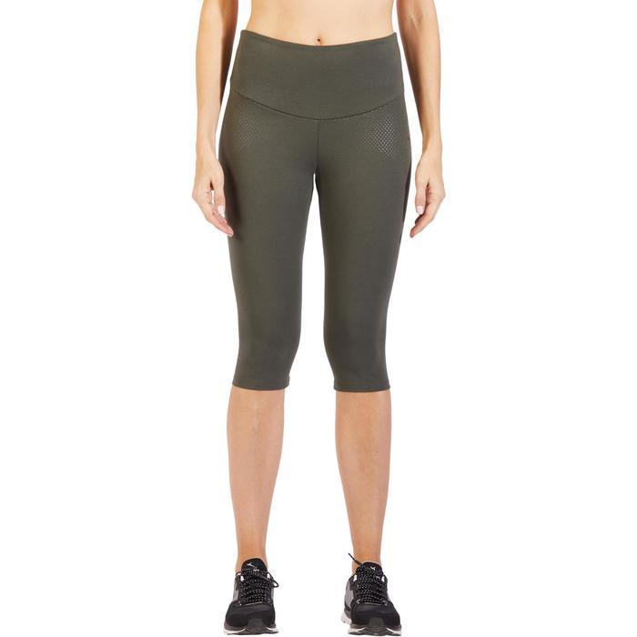 Mallas Leggings Deportivos Gimnasia Pilates Domyos 900 Slim Mujer Caqui