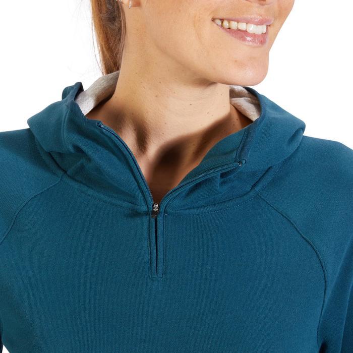 Sweat-shirt 900 Gym & Pilates Femme capuche bleu glacier - 1318318