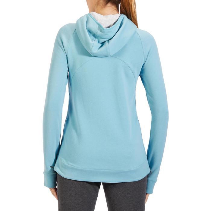 Sweat-shirt 900 Gym & Pilates Femme capuche bleu glacier - 1318326