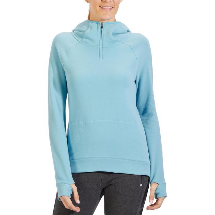 Sweat-shirt 900 Gym & Pilates Femme capuche bleu glacier - 1318330