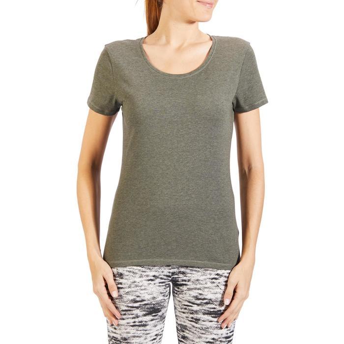 T-Shirt 500 régular manches courtes Gym & Pilates femme chiné - 1318336