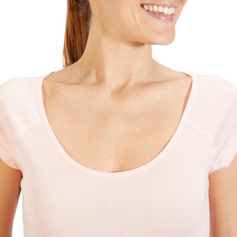 T-Shirt 500 slim Pilates Gym douce femme rose clair