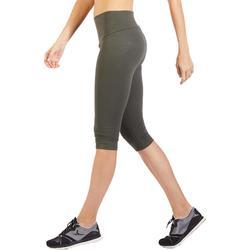 Dameskuitbroek 900 voor gym en pilates kaki