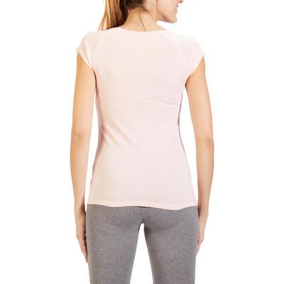 חולצת T צמודה ונמתחת לנשים דגם 500 - ורוד בהיר