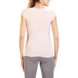 T-shirt 500 ajusté Pilates Gym douce femme rose clair