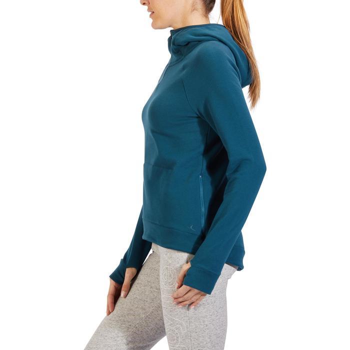 Sweat-shirt 900 Gym & Pilates Femme capuche bleu glacier - 1318357