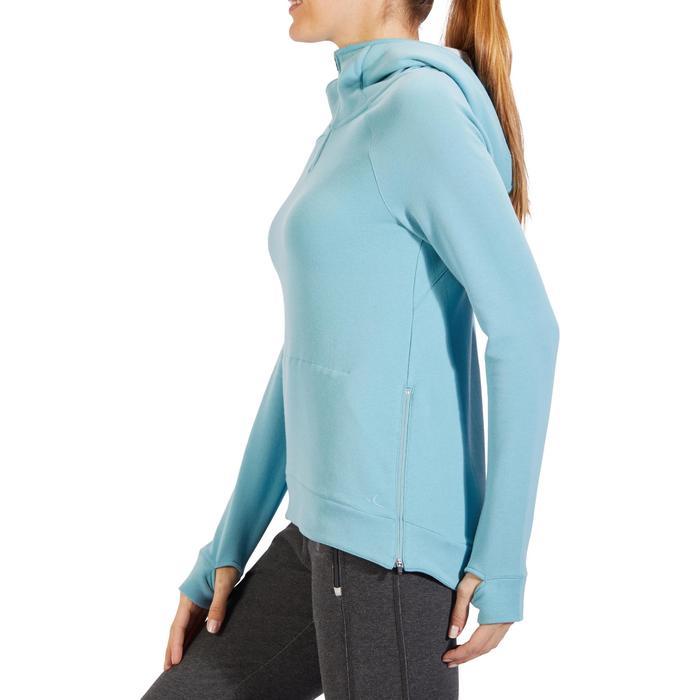 Sweat-shirt 900 Gym & Pilates Femme capuche bleu glacier - 1318377