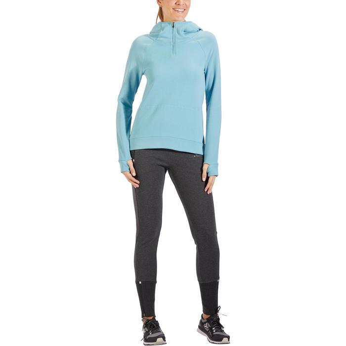 Sweat-shirt 900 Gym & Pilates Femme capuche bleu glacier - 1318383