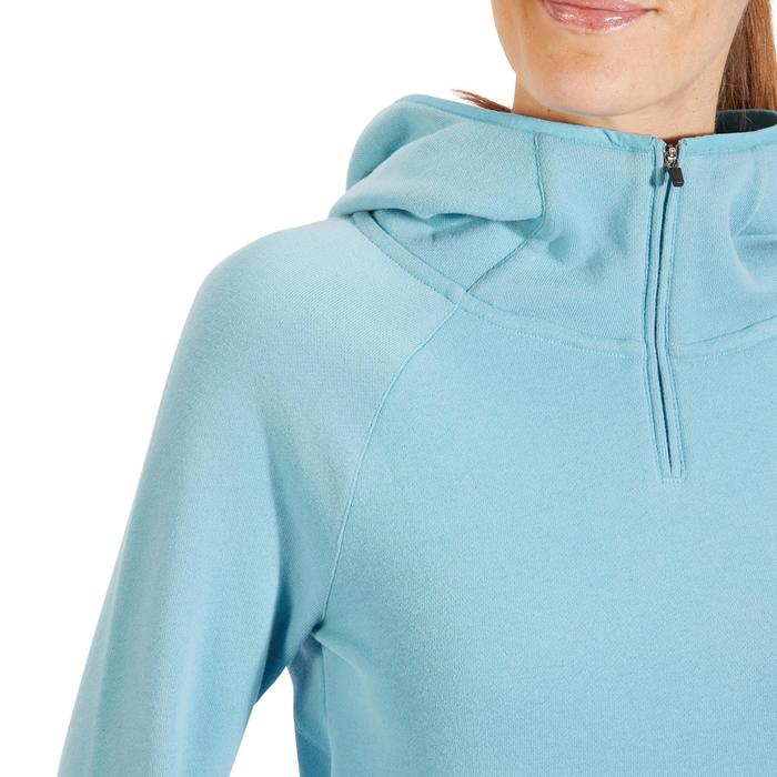 Sweat-shirt 900 Gym & Pilates Femme capuche bleu glacier - 1318397