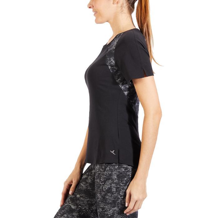Camiseta De Manga Corta De Gimnasia Y Pilates Domyos 520 De Mujer Negro