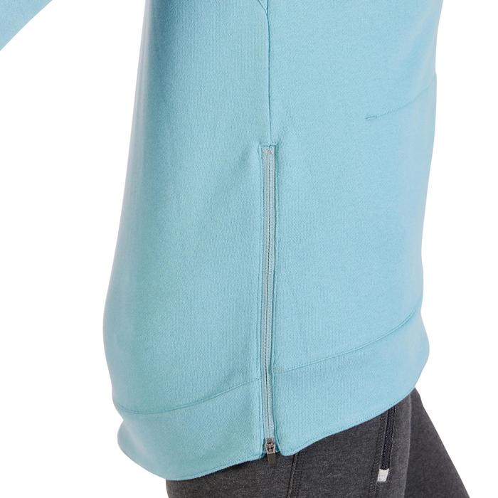 Sweat-shirt 900 Gym & Pilates Femme capuche bleu glacier - 1318407