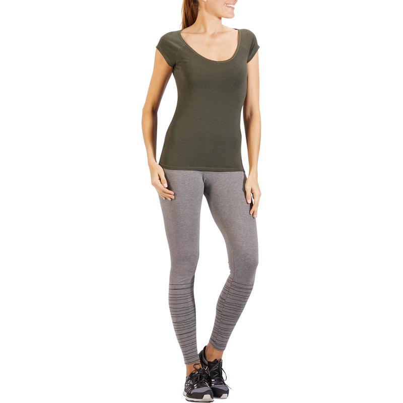 500 Women's Slim-Fit Short Sleeved Gym & Pilates T-Shirt - Khaki