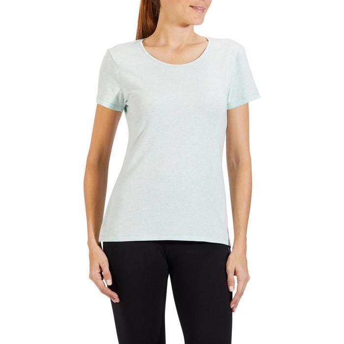 T-shirt 500, gym en pilates, korte mouwen, regular, dames, gemêleerd lichtgroen