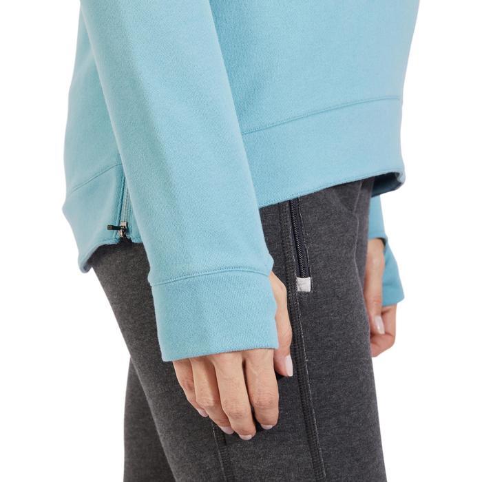 Sweat-shirt 900 Gym & Pilates Femme capuche bleu glacier - 1318450