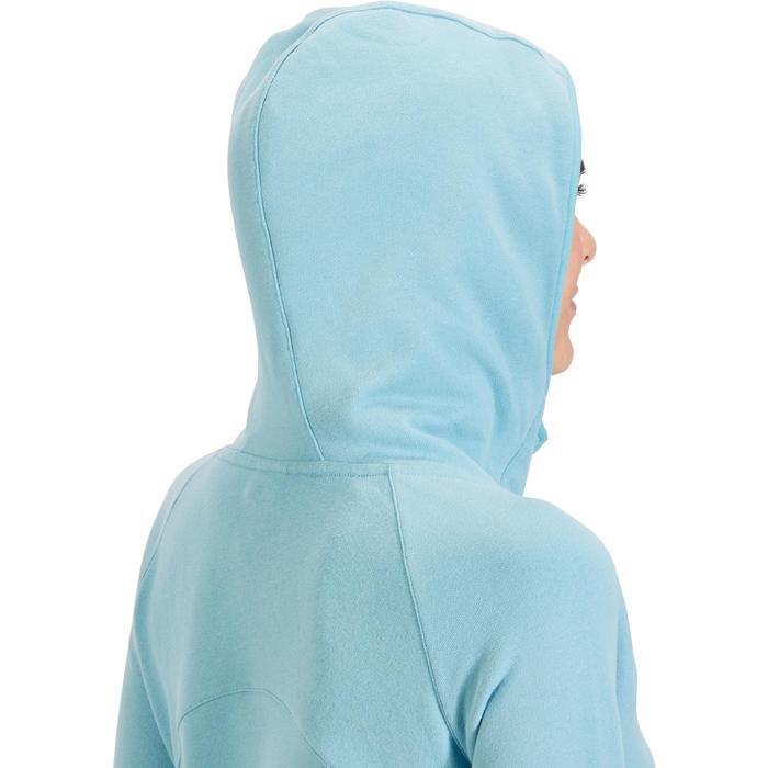 Sweat-shirt 900 Gym & Pilates Femme capuche bleu glacier - 1318460