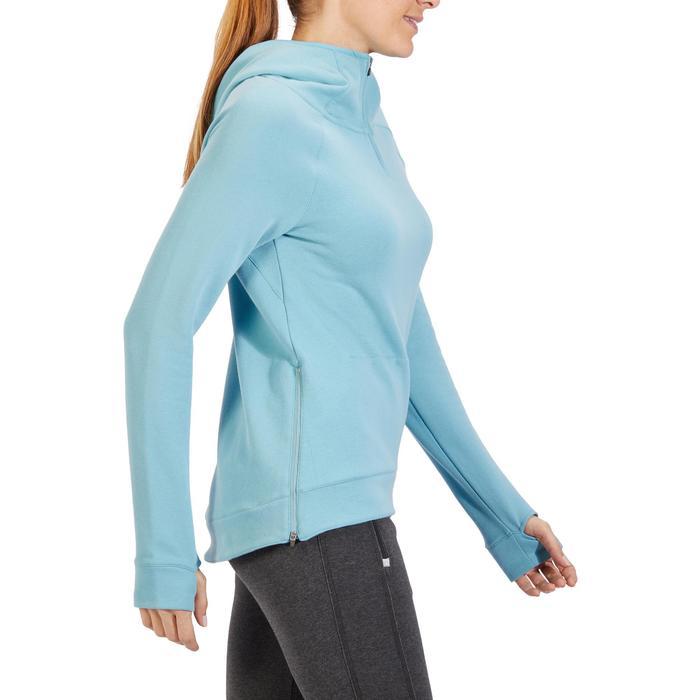 Sweat-shirt 900 Gym & Pilates Femme capuche bleu glacier - 1318468