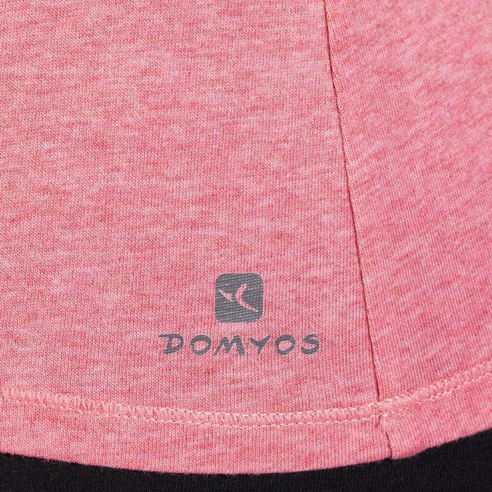 Camiseta 500 regular Gimnasia Stretching mujer rosa oscuro jaspeado