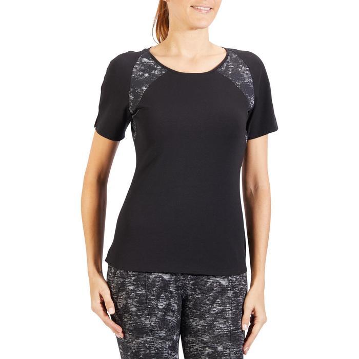 Dames-T-shirt 520 met korte mouwen voor gym en pilates zwart