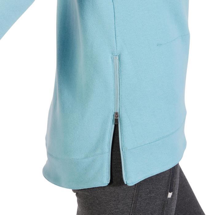 Sweat-shirt 900 Gym & Pilates Femme capuche bleu glacier - 1318486