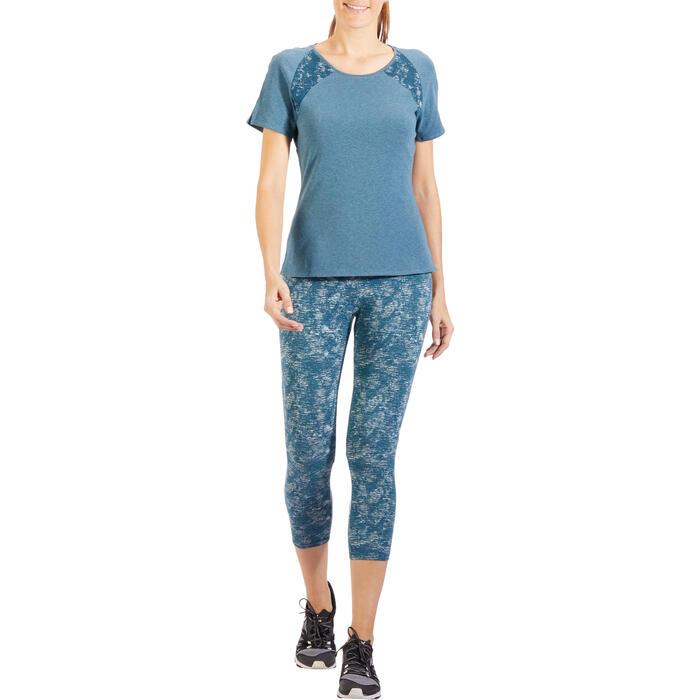 T-Shirt 520 manches courtes Gym & Pilates femme gris chiné clair - 1318494