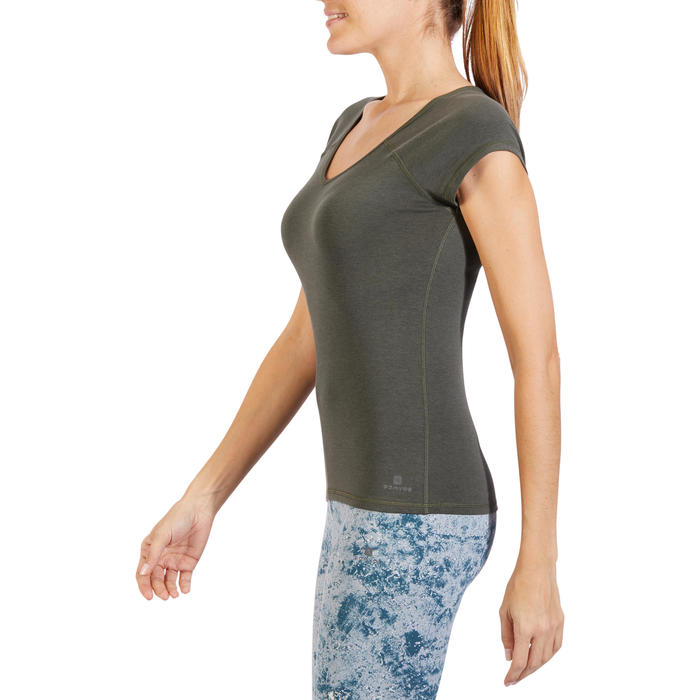 500 Women's Slim-Fit Stretching T-Shirt - Black - 1318498