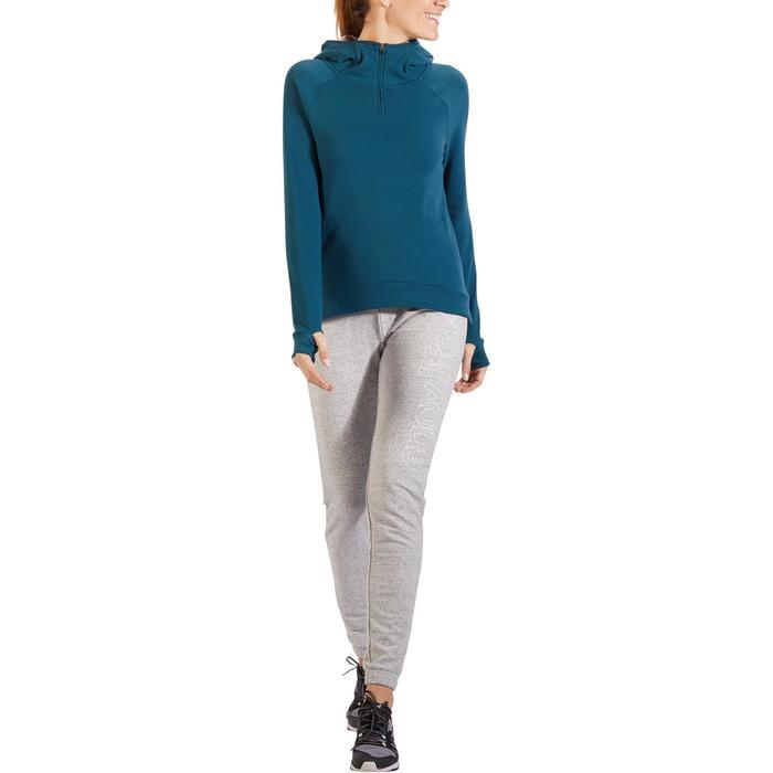 Sweat-shirt 900 Gym & Pilates Femme capuche bleu glacier - 1318513