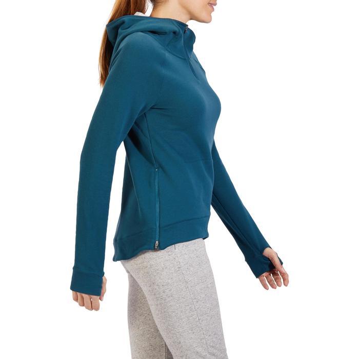 Sweat-shirt 900 Gym & Pilates Femme capuche bleu glacier - 1318529