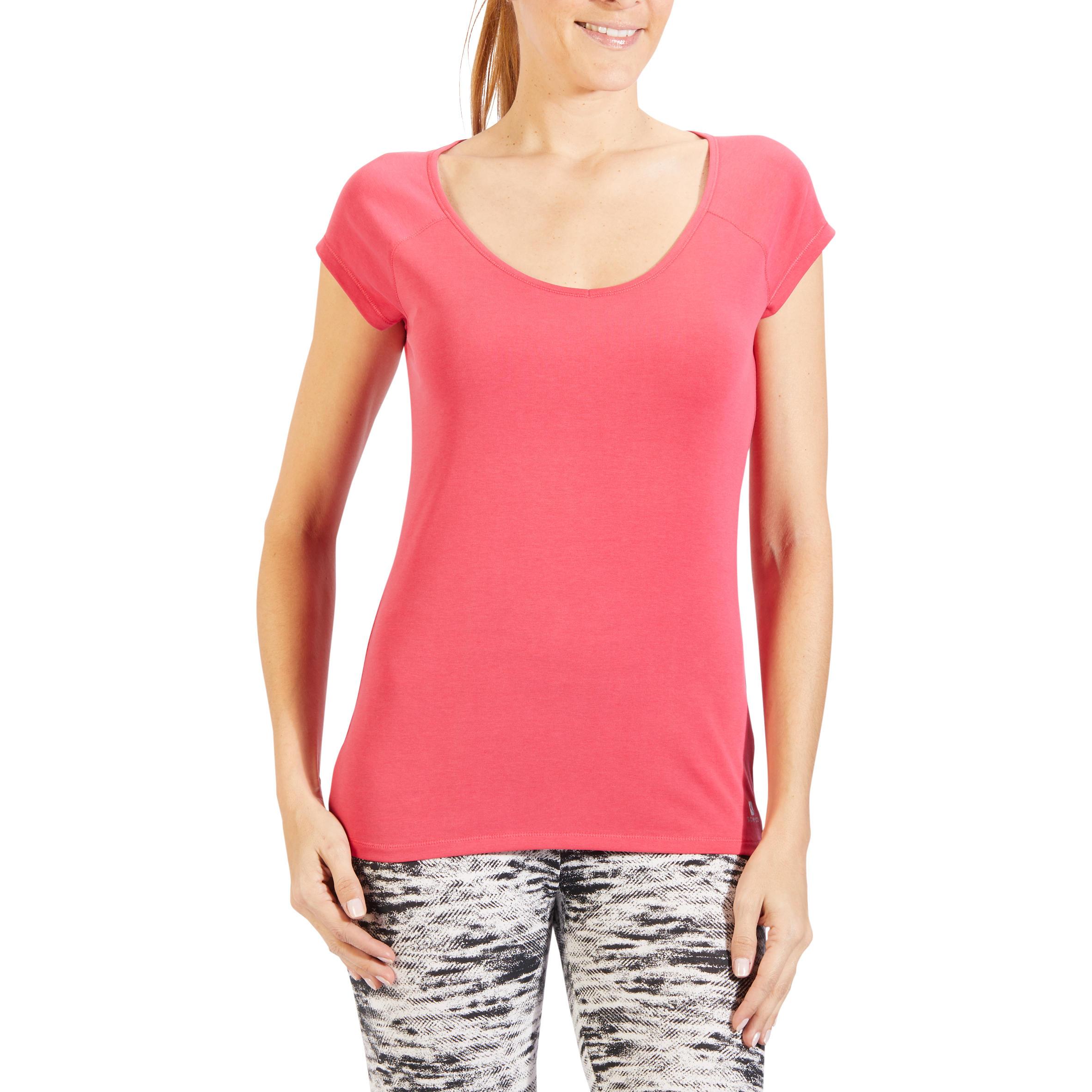 Domyos T-shirt 500 voor gym en pilates, korte mouwen, slim fit, voor dames, felroze