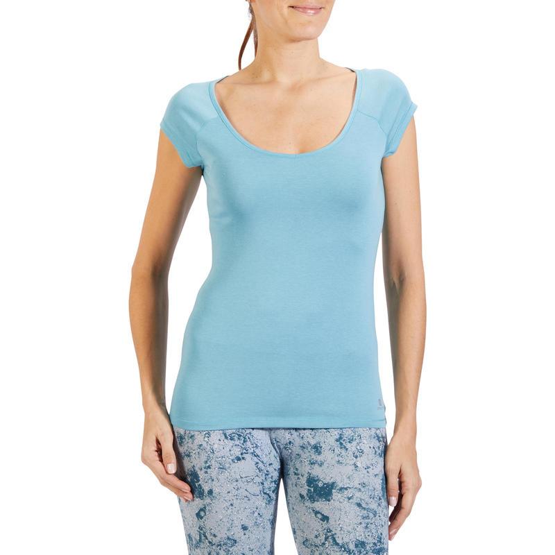 500 Women's Slim-Fit Short-Sleeved Gym & Pilates T-Shirt - Glacier Blue