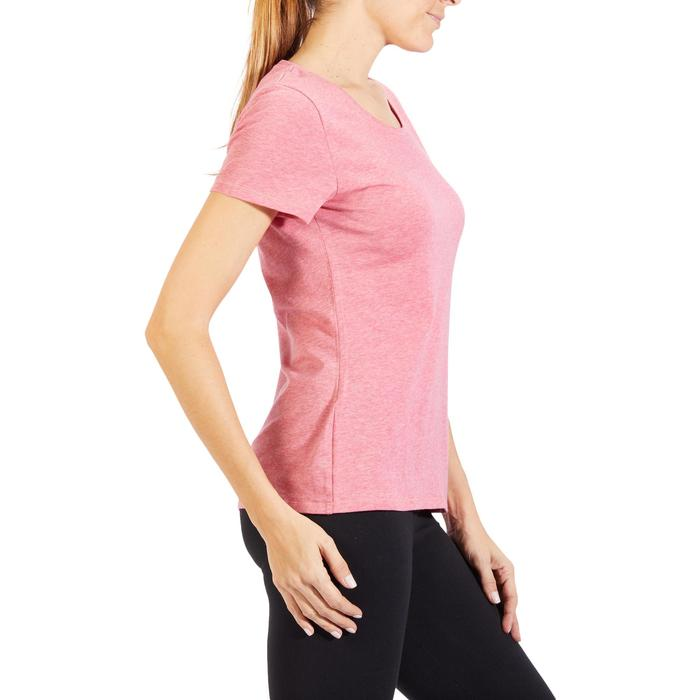 Dames T-shirt 500 voor gym en stretching regular fit gemêleerd donkerroze