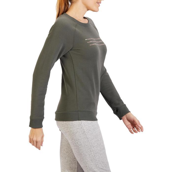 Damessweatshirt voor gym en pilates, kaki met opdruk