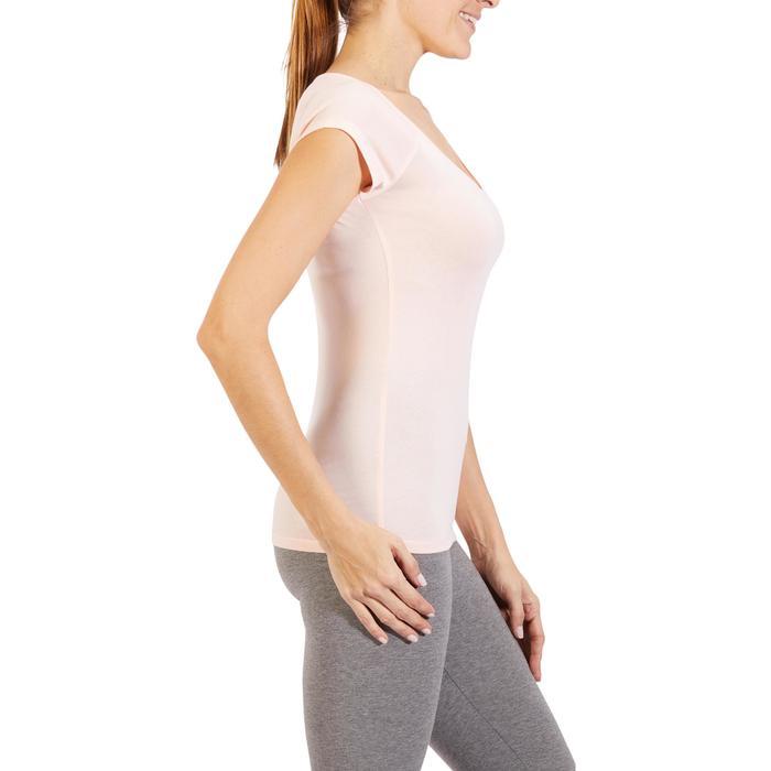 9eeff647a3728 Camiseta Manga Corta Gimnasia Pilates Domyos 500 Slim Mujer Rosa Claro