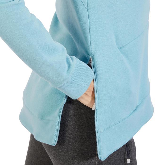 Sweat-shirt 900 Gym & Pilates Femme capuche bleu glacier - 1318553