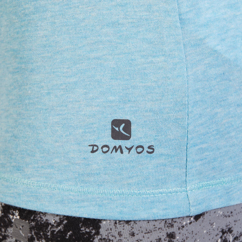 T-Shirt 500 regular Pilates Gym douce bleu