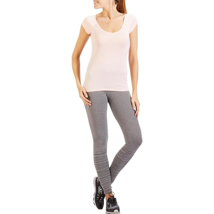 T-Shirt 500 Slim Gym Stretching Damen hellrosa
