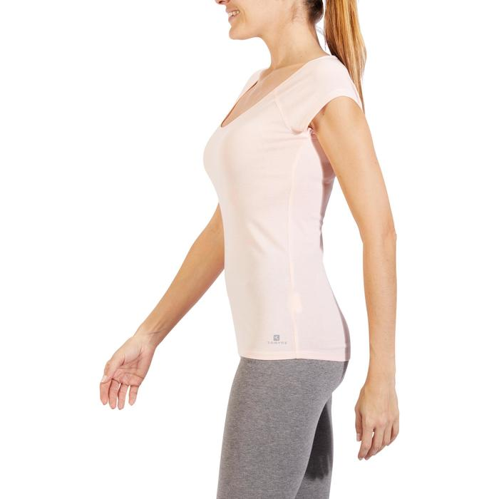 T-Shirt 500 Slim Gym & Pilates Damen hellrosa