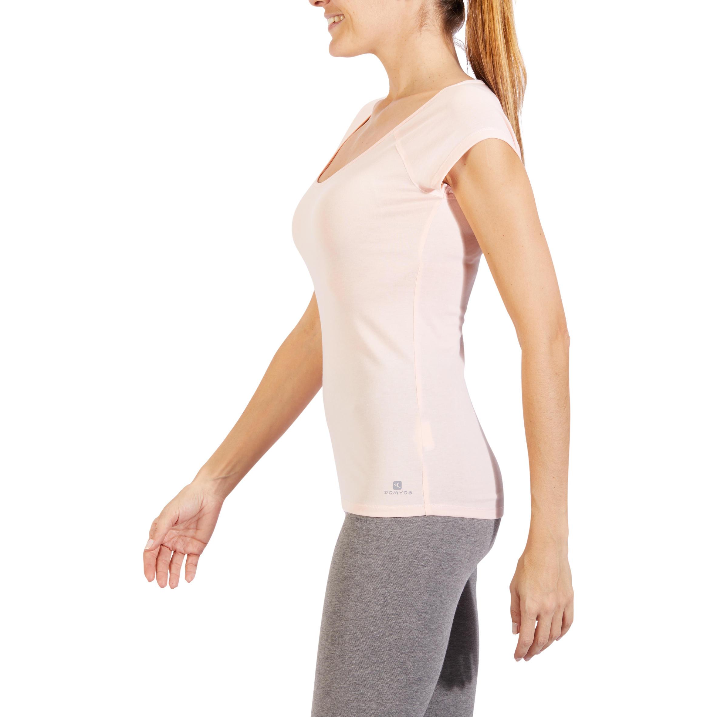 T-shirt ajusté manches courtes 500 Gym et Pilates femme rose des sables