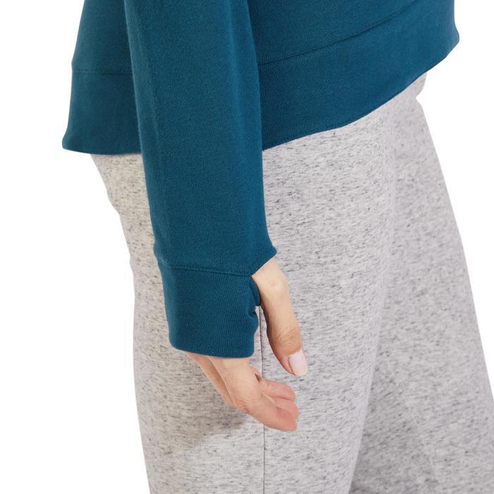 Sweat-shirt 900 Gym & Pilates Femme capuche bleu glacier - 1318587