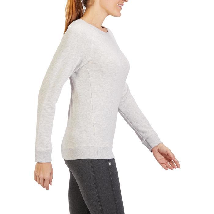 Damessweater 500 voor gym en stretching gemêleerd lichtgrijs