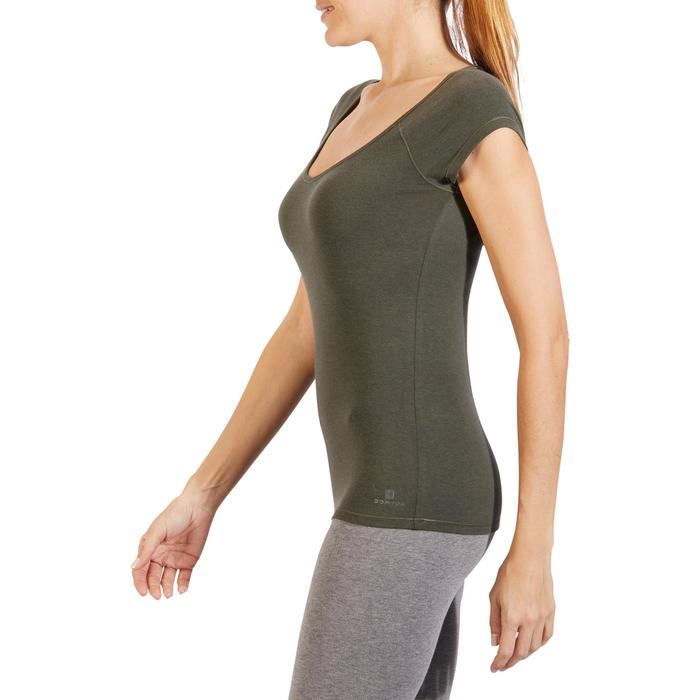 T-Shirt 500 Slim Gym Damen khaki