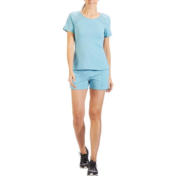 Dames-T-shirt 520 met korte mouwen voor gym en pilates ijsblauw