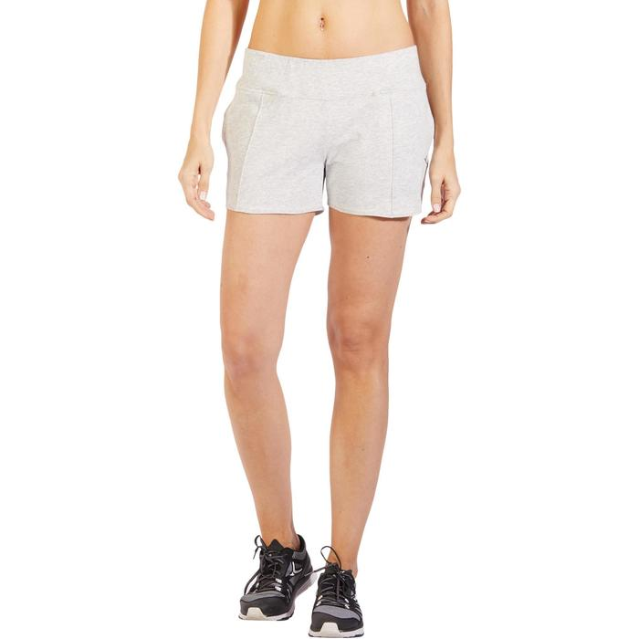 Pantalón Corto Gimnasia y Pilates Domyos 520 Mujer Gris Claro Jaspeado