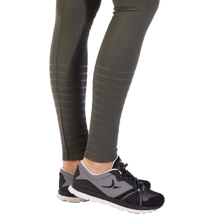 Dameslegging 900 voor gym en pilates slim fit kaki