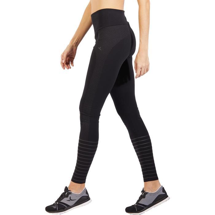 Dameslegging 900 voor gym en pilates slim fit zwart