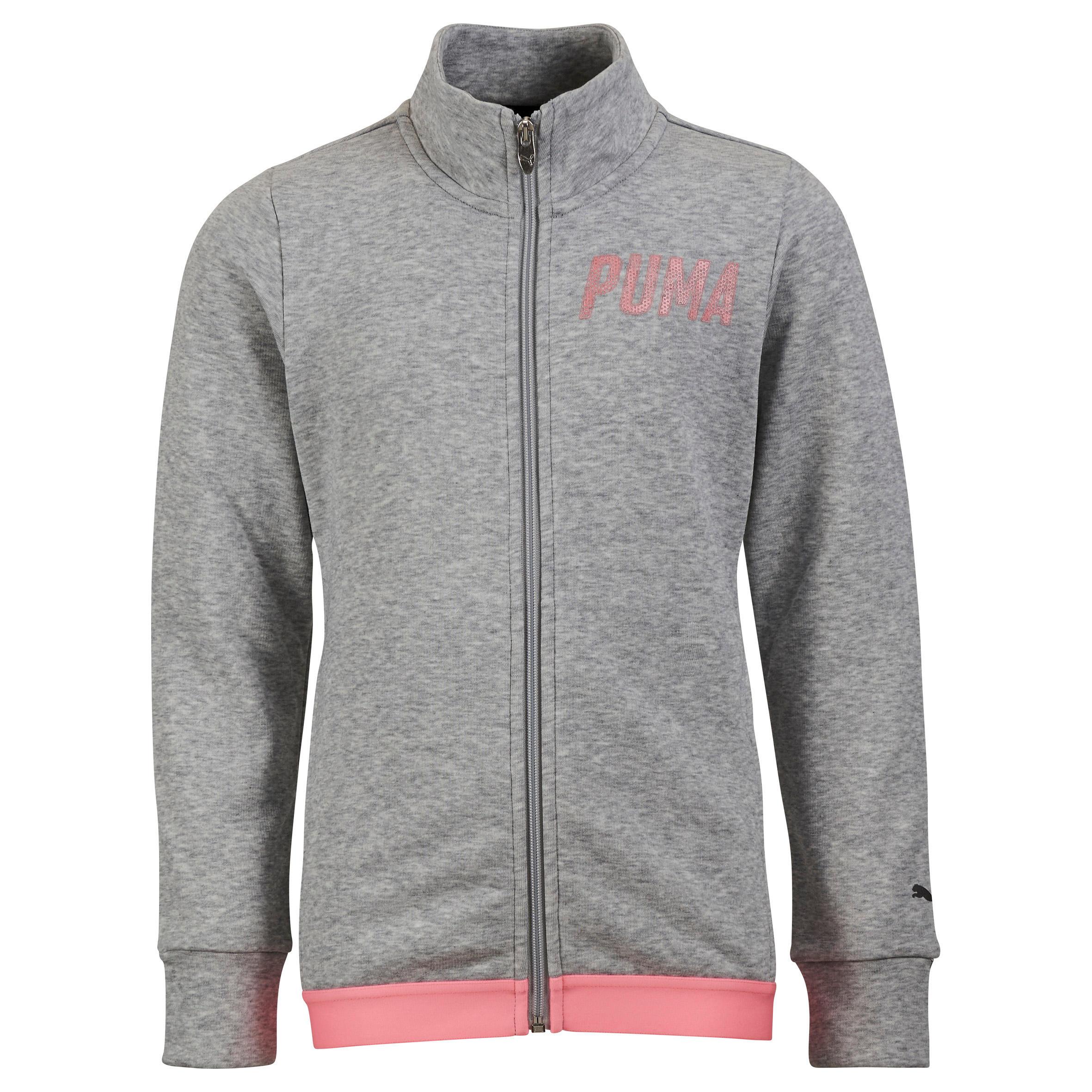 Puma Fitness hoodie met rits voor meisjes grijs