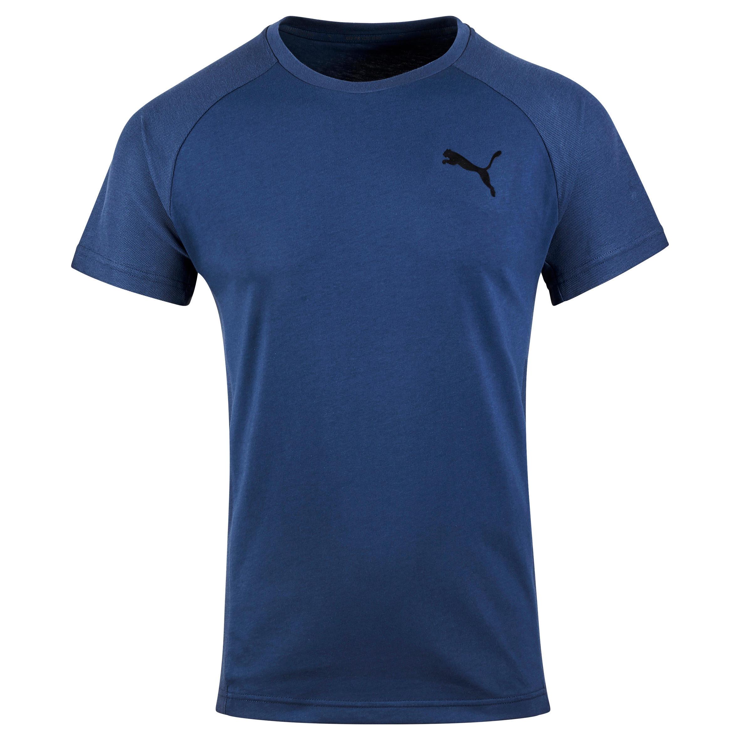 Puma Heren T-shirt Puma voor gym en pilates Evostripe blauw