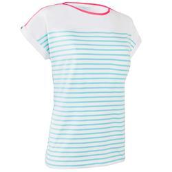 Camiseta de manga corta vela aventura 100 mujer blanco/verde